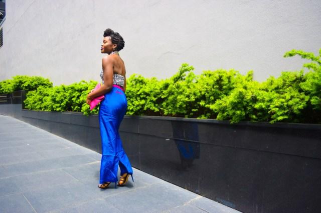 Befitting Style Oyinkan Wearing Cobalt Blue Full Leg Pants 16