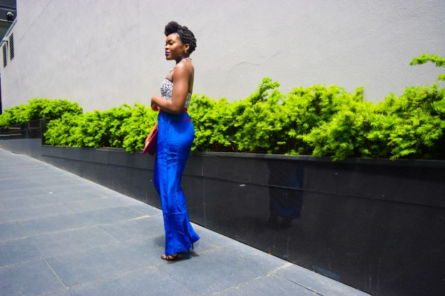 Befitting Style Oyinkan Wearing Cobalt Blue Full Leg Pant 20