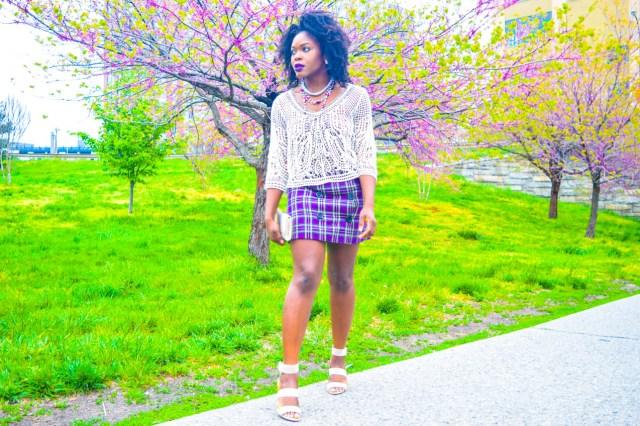 Befitting Style Oyinkan Wearing Purple Plaid Skirt w-Mesh Top 12