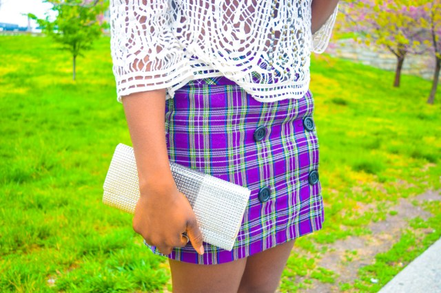 Befitting Style Oyinkan Wearing Purple Plaid Skirt w-Mesh Top 16