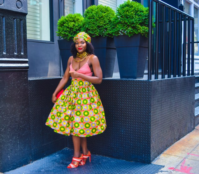 Befitting Style Oyinkan Wearing Ankara Print Skirt With Crop Top 14