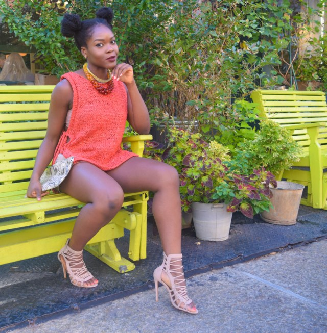 How I Style | Orange Open Side Top & Khaki Shorts