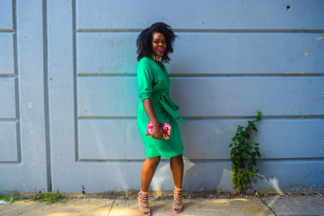 How I Style | Green Wrap Dress