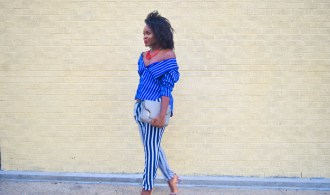 Fall Off The Shoulder Blue And White Stripes