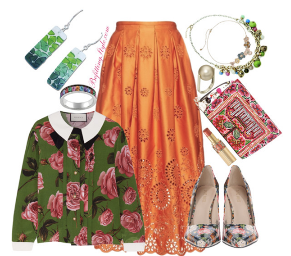 thanksgiving-dinner-party-green-floral-top-orange-skirt-befitting-style