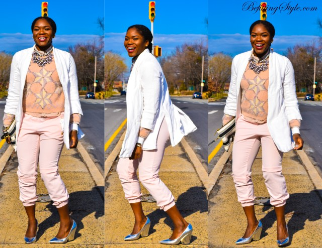 Befitting Style NYFW Oyinkan Wearing Pastel Sweater Pants White Blazer Metallic Shoes 2