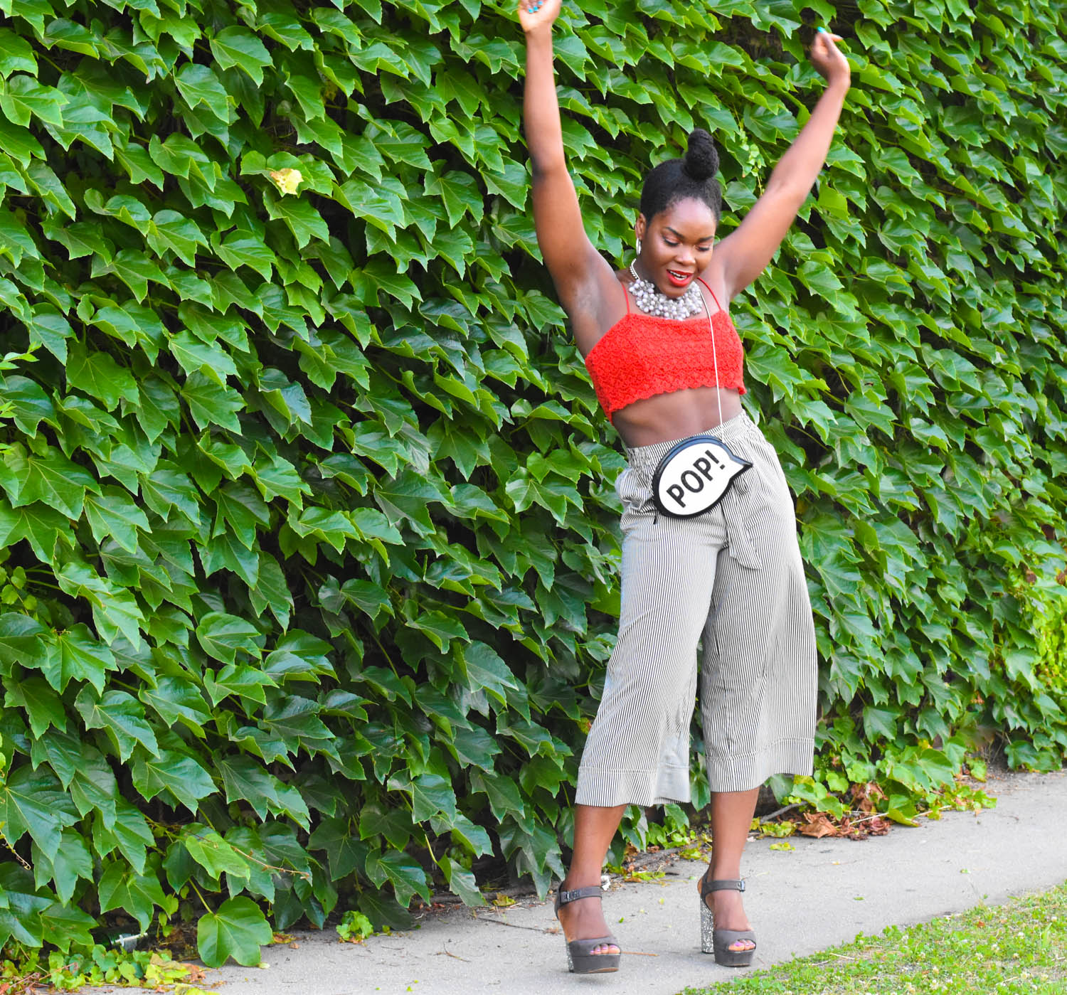 Befitting Style Oyinkan Wearing Red Crop Top and Black White Culotte 10