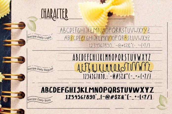 Recipe Daily Typeface