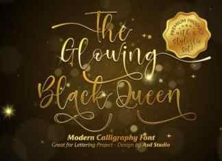 The Glowing Black Queen Script Font