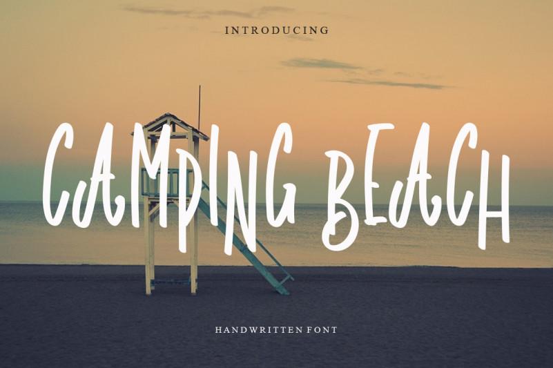 Camping Beach Brush Font