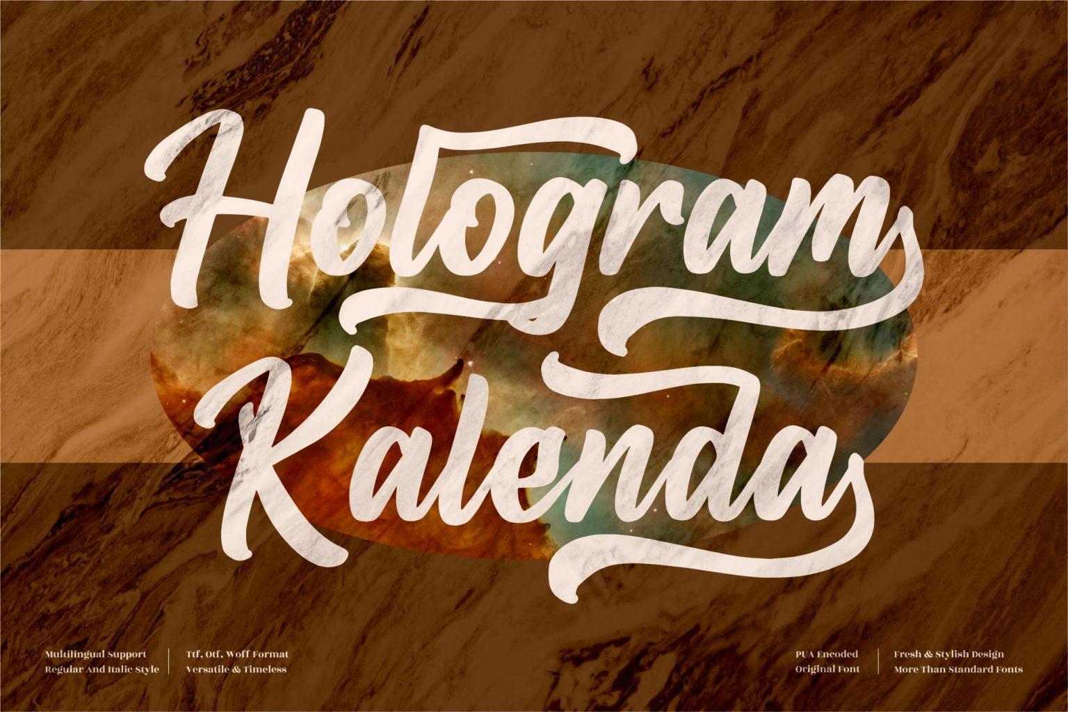 Hologram Kalenda Script Font