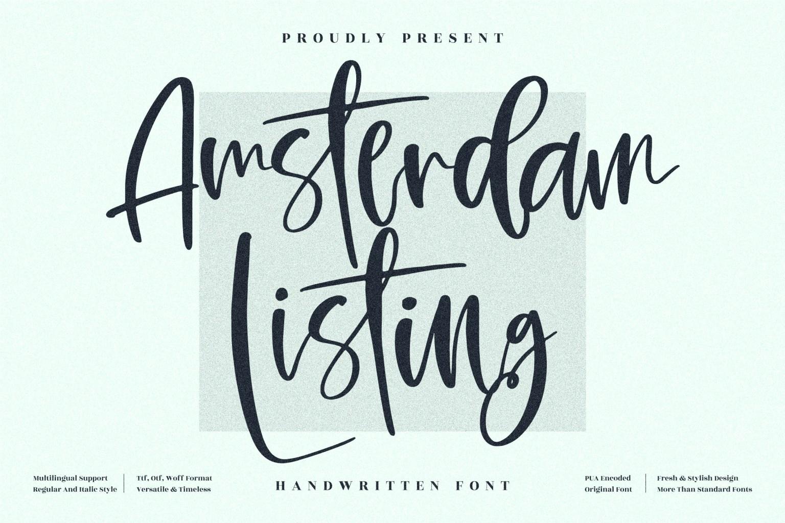 Amsterdam Listing Script Font
