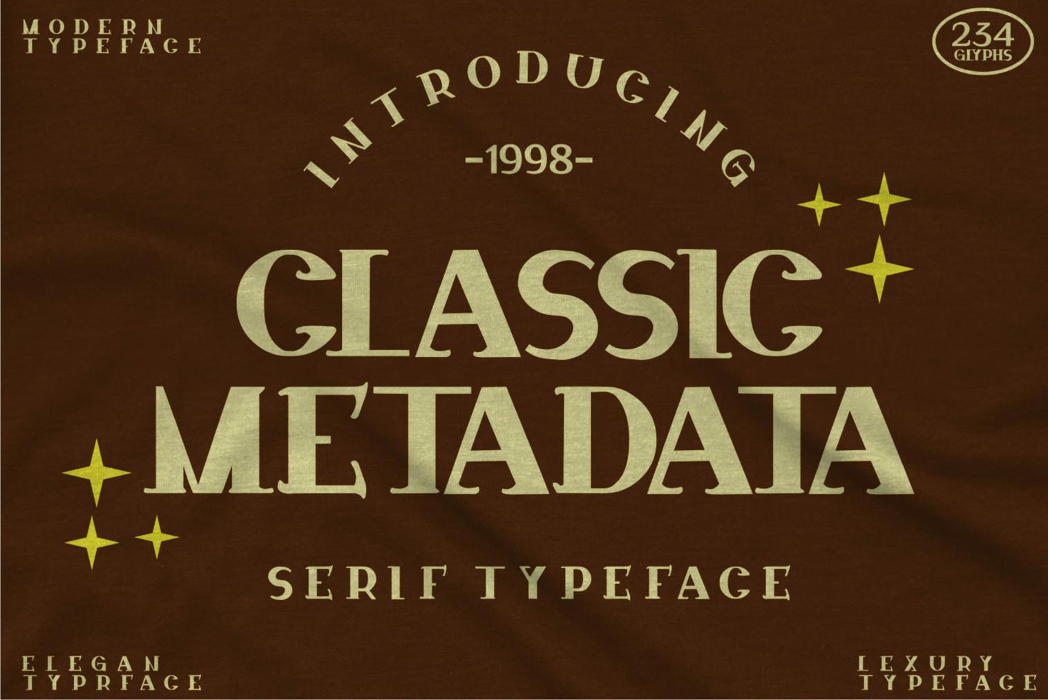 Classic Metadata Display Font