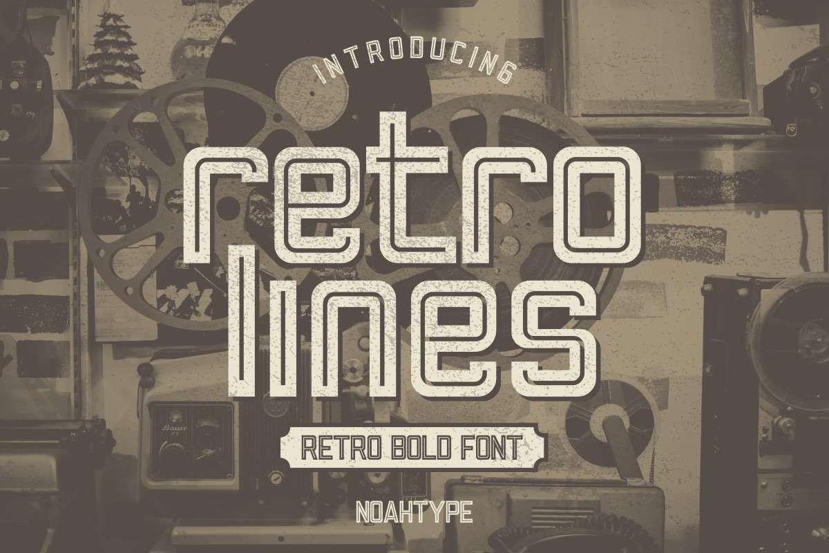Retro Lines Display Font