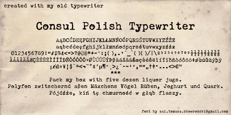 Consul Polish Typewriter Font