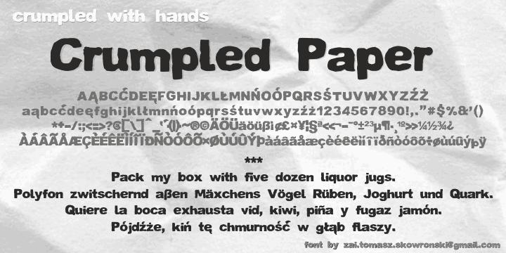 Crumpled Paper Display Font