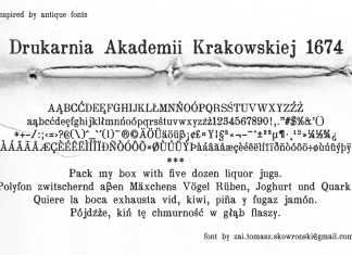 Drukarnia Akademii Krakowskiej 1674 Font