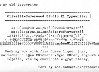 Olivetti Underwood Studio 21 Typewriter Font