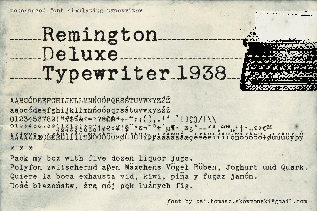 Remington Deluxe Typewriter 1938 Font