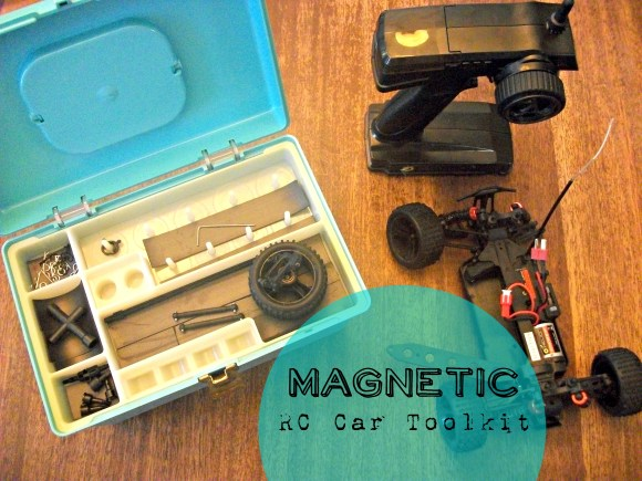 Use magnets to make an RC Car Toolkit so pieces don't fall out! Before3pm.com
