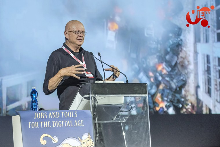 Dennis Muren speaks at the VIEW Conference in Turin.