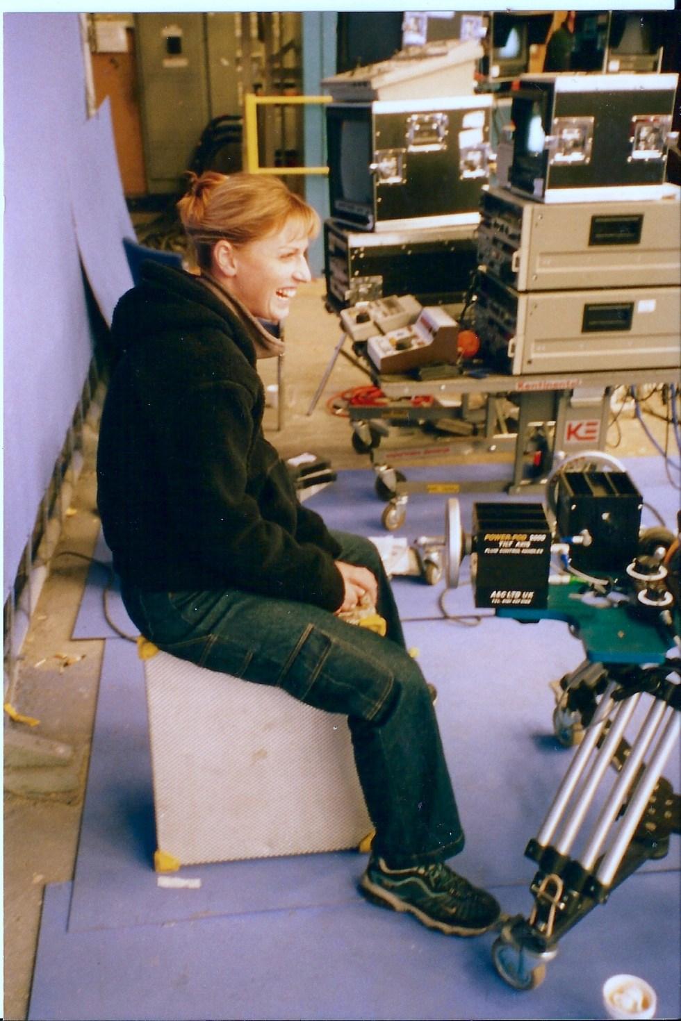 VFX producer Rachael Penfold on the bluescreen set.