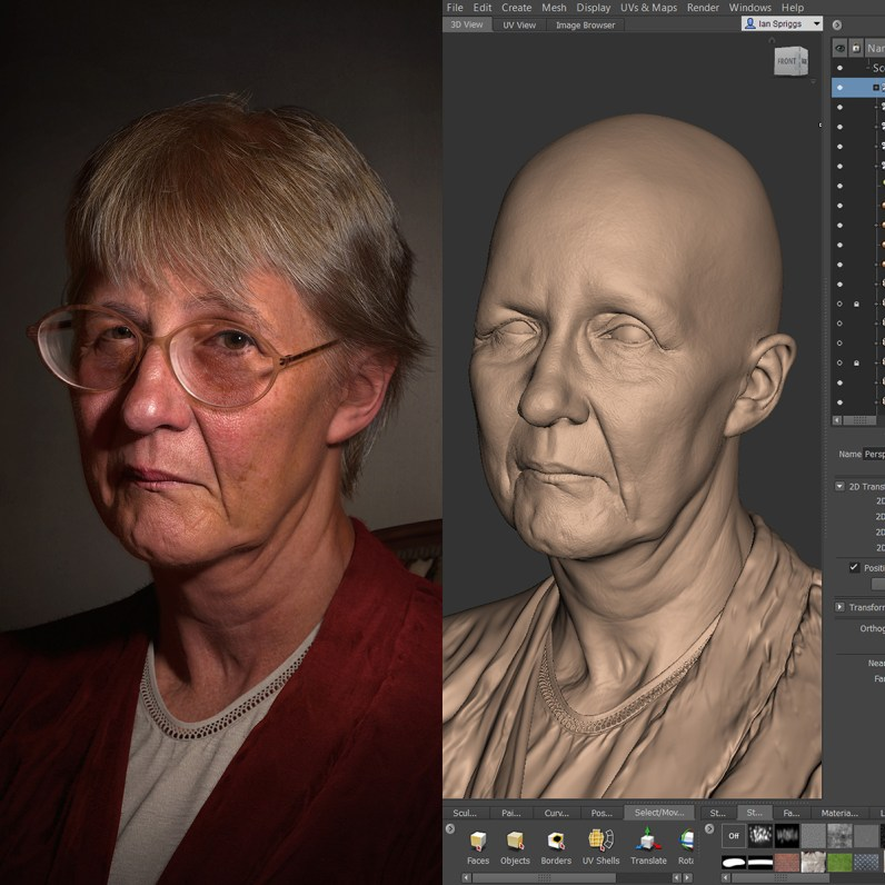 Portrait of Jenn, and Mudbox UI