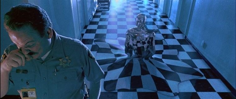 uman form develops as the T-1000 mimics the guard