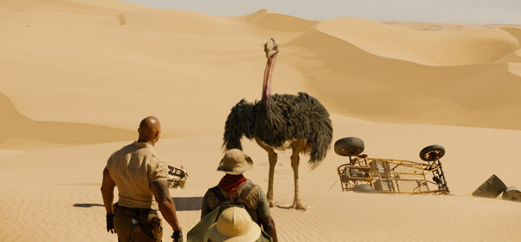 ostrich VFX in jumanji: THE NEXT LEVEL