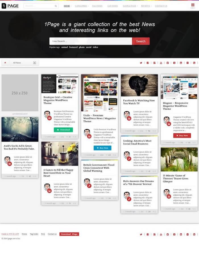 1Page Masonry WordPress Theme