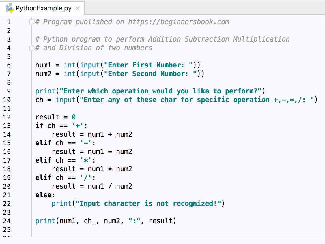 Python Program To Add Subtract Multiply And Divide Two Numbers