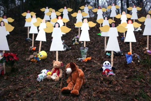 Sandy Hook School Shooting Wooden Angels Memorial | Why does God allow evil?