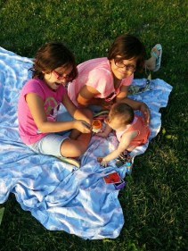 Three Little Girls on a Blanket