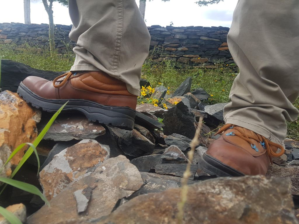 Shoes to step on jagged rocks..