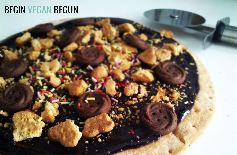 Pizza dulce de chocolate y galleta