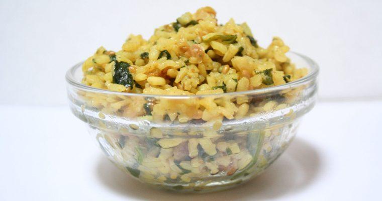 Arroz al curry con espinacas
