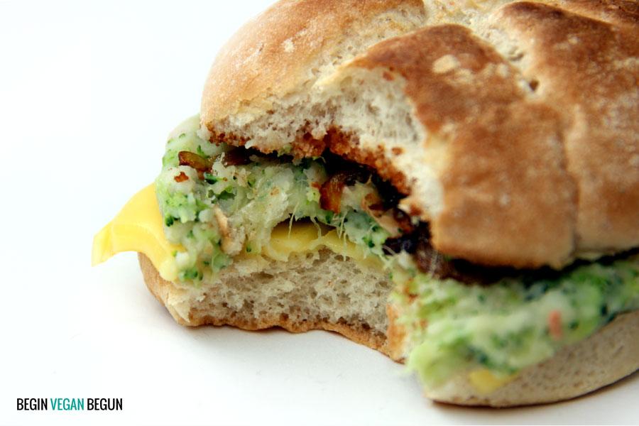 Hamburguesa vegana de brócoli
