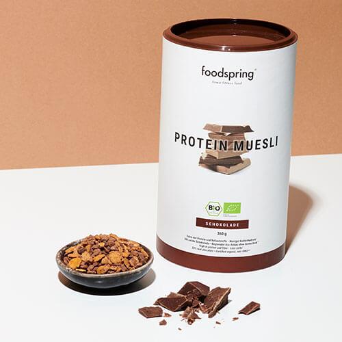 muesli proteico vegano de chocolate