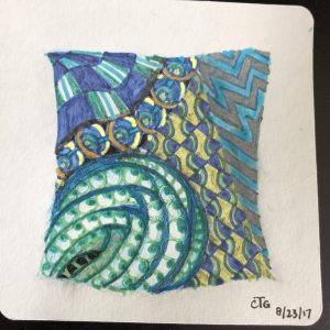 Zentangle-style drawing, created with color markers instead of black ink