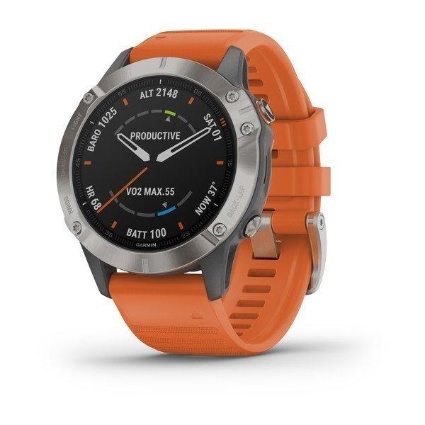 Bėgimo laikrodis Garmin Fenix 6 Sapphire Titanium Gray