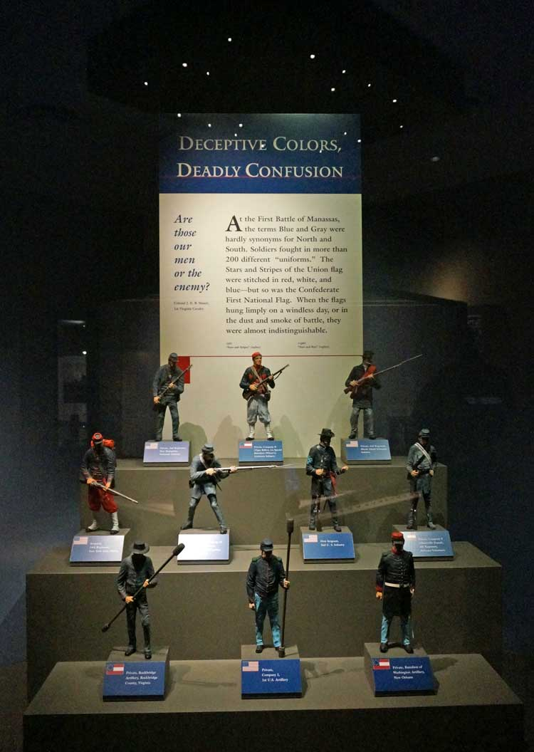 Civil War uniform variations display titled Deceptive Colors, Deadly Confusion tells of the battlefield confusion caused my similarities in uniforms