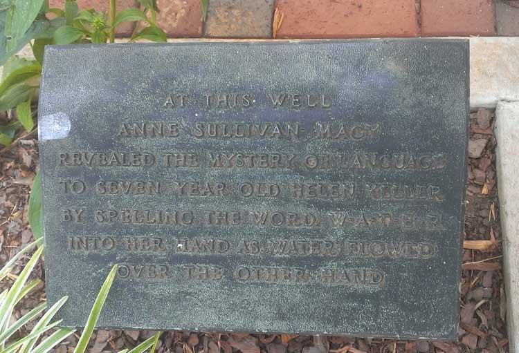helen keller well plaque