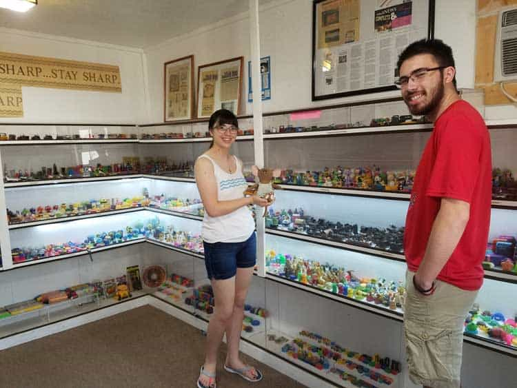 big trip 13 is looking at the collection at the pencil sharpener museum in logan, oh