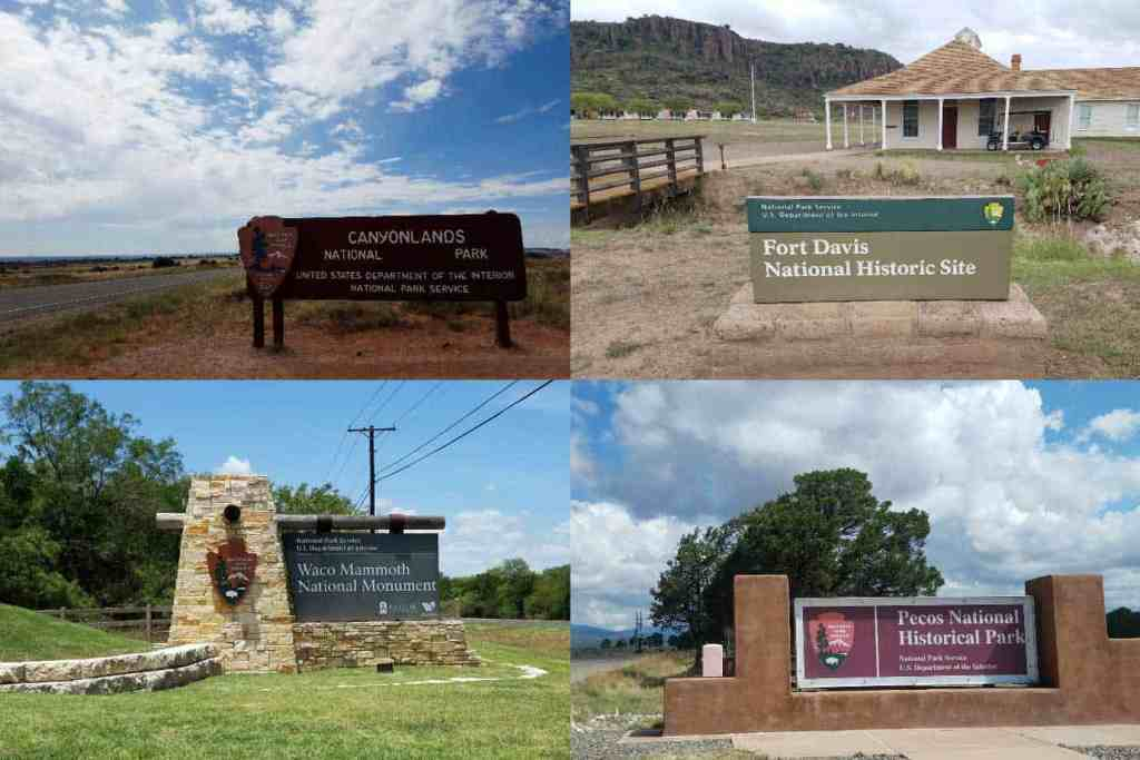 collage of a variety of national park system signs to include national monuments and national historical parks