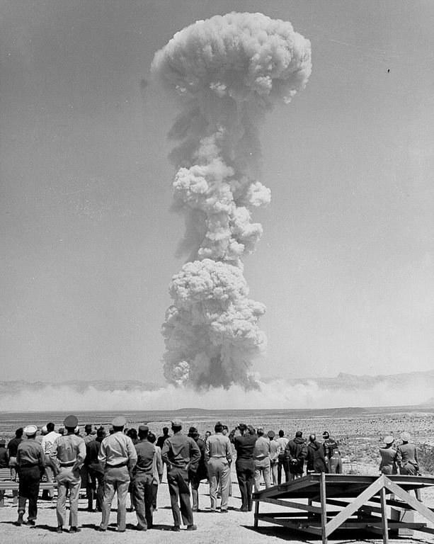 1955 nevada test site nuclear test observers watch an explosion