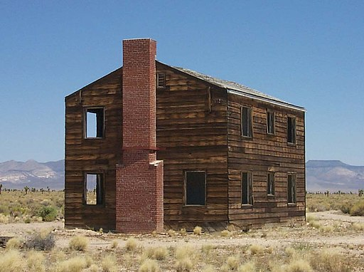 brick house remains standing at nevada test site