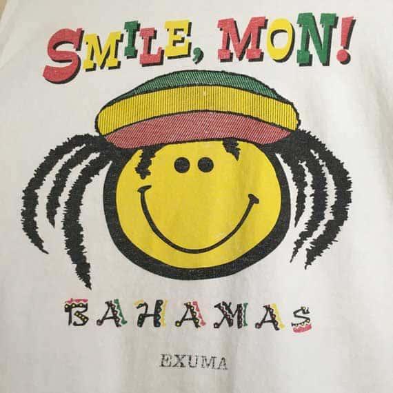 smile mon souvenir tshirt from the bahamas