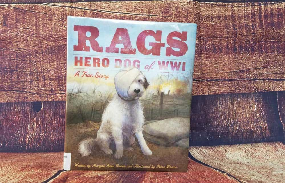 Rags is the true story written by Margot Theis Raven that tells of a four-legged hero in WWI. good for veterans day