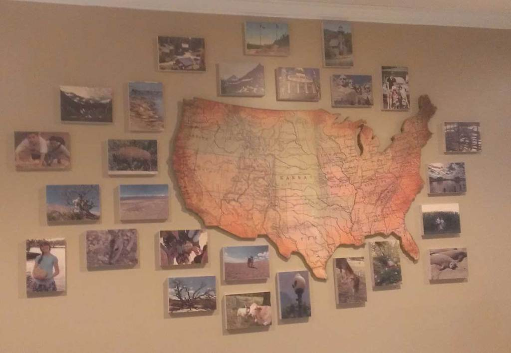 A few favorite photos from our many Big Trips surround the US map in our living room