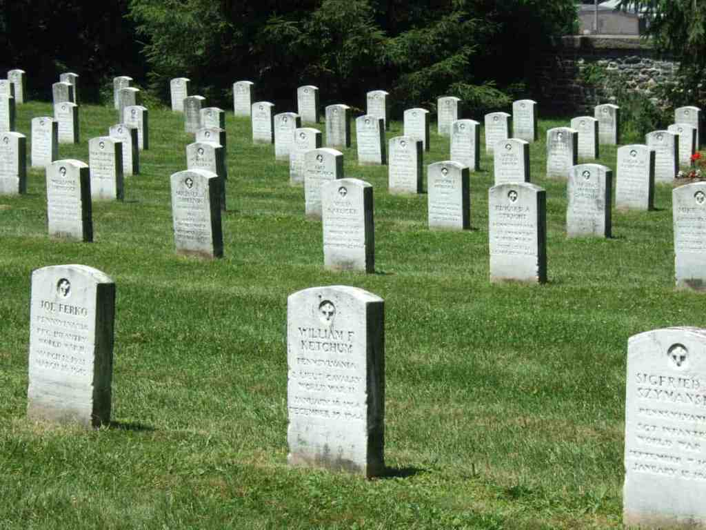 Headstones at the Soldiers National Cemetary in Gettysburg, PA